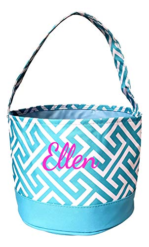 Childrens Fabric Bucket Tote Bag - Toys - Easter Basket - Custom Embroidery Available (Aqua Greek Key with Embroidery)