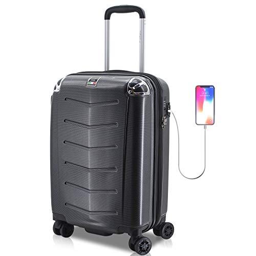 Villagio Hardshell Luggage 21 Inch - USB Port Polycarbonate 8 Wheel Spinner with Slash Proof Zipper and TSA lock (21, Black)