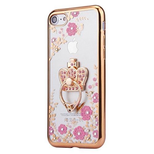 iPhone 6S Hülle,iPhone 6 Hülle,iPhone 6/6S Hülle Silikon Glitzer,SainCat Rosa Blumen Muster Silikon Hülle Tasche Handyhülle Bling Diamant Crown Strass Ring Gold Schutzhülle Transparent TPU Gel Case Bu