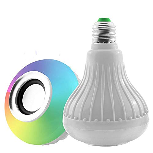 LED Bluetooth Speaker Bulb, Dr.Queen White and RGB Built-in Colour Changing Music Light Bulb with Remote Control for Home Party KTV Stage Decoration(E27 12W)