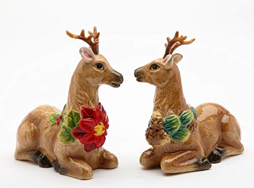 Poinsettia Deer - Fine Ceramic Reindeer Deer with Antlers with Poinsettia and Pinecone Salt & Pepper Shakers Set, 3-1/2