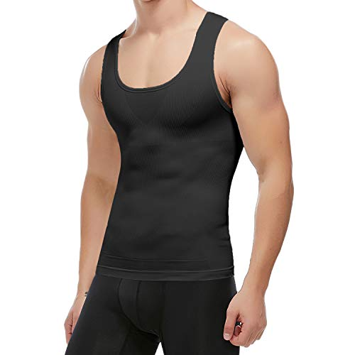KIWI RATA Men's Body Shaper Slimming Shirt Tummy Waist Vest Workout Tank Tops Lose Weight Shirt Black M (Chest Workout To Get Rid Of Moobs)