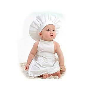 Newborn Baby Chef Outfit Clothes, Besutana Newborn White Cook Chef Costume Prop Knit Crochet Photopraphy Dress Handmade