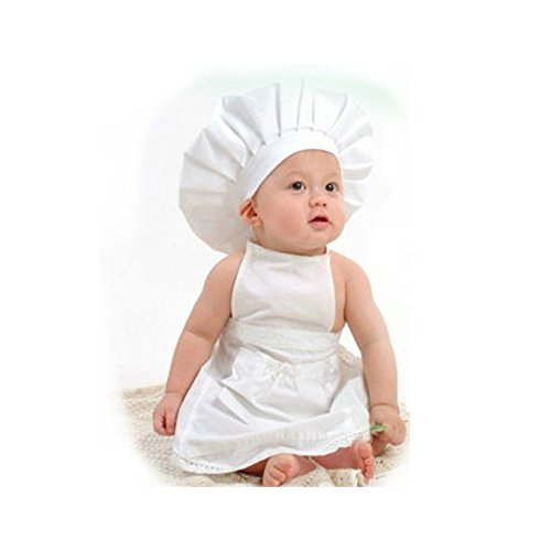 Cute Country Girl Costumes (Newborn Baby Chef Outfit Clothes, Besutana Newborn White Cook Chef Costume Prop Knit Crochet Photopraphy Dress Handmade)
