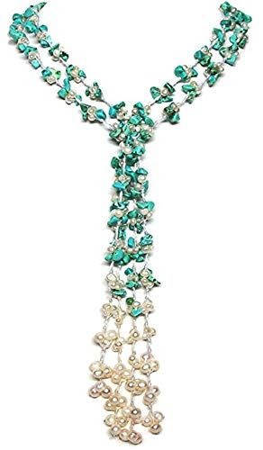 (HinsonGayle 'Chyenne' 2-Strand Handwoven Turquoise & Freshwater Cultured Pearl Lariat-42 in length)