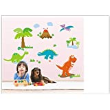 Removable Lovely Dinosaur in the Jungle Volcano Cartoon Wall Decal Wall Decor Wallpaper Wall Sticker for Kids Nursery