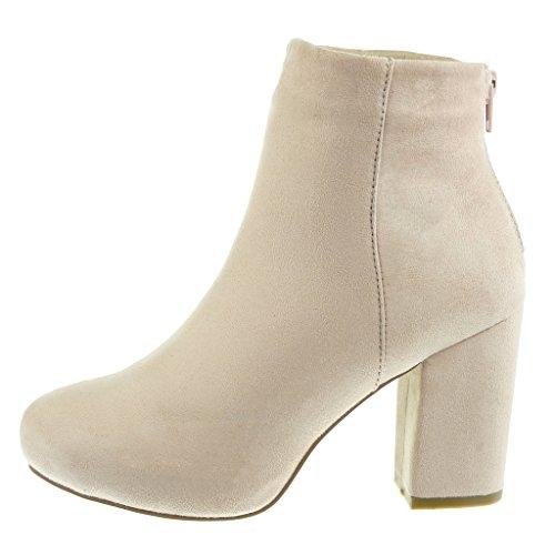 Angkorly - damen Schuhe Stiefeletten - Reitstiefel - Kavalier - Plateauschuhe Blockabsatz high heel 9 CM Rosa