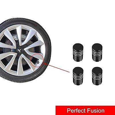 A ABIGAIL Car Tire Valve Stem Caps for Tesla Roadster Model S Model X Model 3 Universal for Car,Motorbike,Trucks,Bike and Bicycle Aluminum 4pcs (Black): Automotive