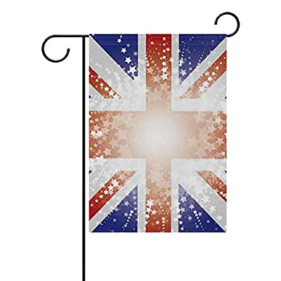 "Jojogood Starry Union Jack Flag Background Garden Flag 12""X18"" Double Sided Yard Decoration Polyester Outddor Flag Home Party"