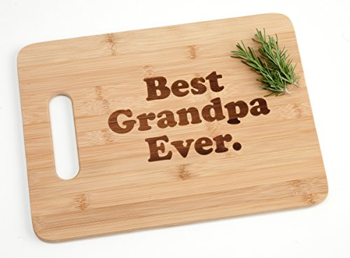 Best Grandpa Ever Engraved Bamboo Wood Cutting Board with Handle Sentimental Grandfather Father's Day Gift