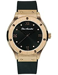 Elico Assoulini CL76040 Diamante Watch w/ Rose Gold Face & Black Strap