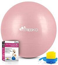 TRESKO® Pelota de Gimnasia Anti-Reventones | Bola de Yoga Pilates y Ejercicio | Balón para Sentarse | Balon de Ejercicio para Fitness | 300 kg | con Bomba de Aire (Rose Gold, 65cm)