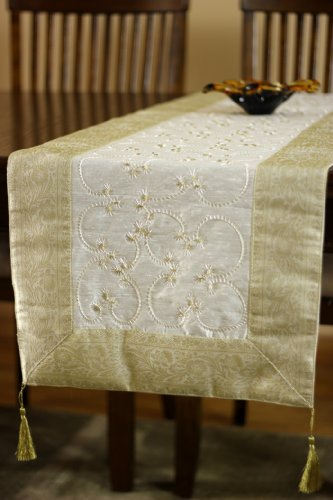 "Banarsi Designs Hand Embroidered Table Runner (Beige, 72"" X 17"")"