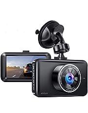 Kamera samochodowa z przodu i z tyłu, 7,6 cm LCD, 1080p Full HD, szeroki kąt widzenia 170°, czujnik G, monitorowanie parkowania, nagrywanie w pętli i WDR