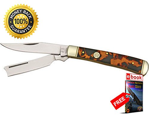 Imitation Tortoise Shell - Rough Rider Folding Utility Knife 515 Folding Knife Razor Trapper Imitation Tortoise Shell Handle razor sharp knife strong carbon blade survival camping hunting EDC military knife eBOOK by MOON KNIVES