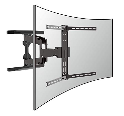 Double arms full Motion TV Mount for Most 37-80 inch TV, fit both flat panel TV and curved TV. Solid design up to 110lbs, Swivel Articulating with 20.1