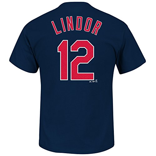 Francisco Lindor Cleveland Indians #12 MLB Men's Player T-Shirt Navy (Small)