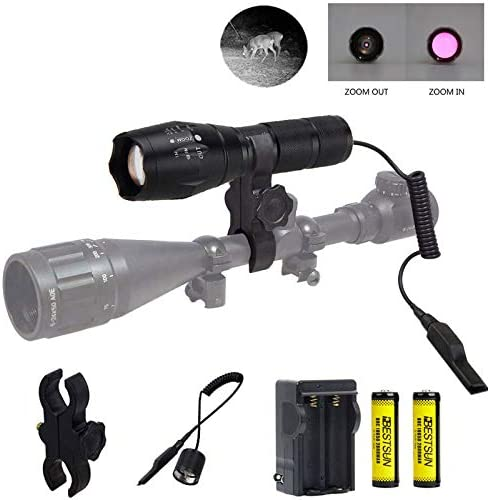 IR Illuminator Flashlight 850nm Infrared Light Night Vision Hunting Light Torch Adjustable Focus LED Flashlight with Scope Mount, Remote Pressure Switch, Rechargeable Batteries for Night Hunting