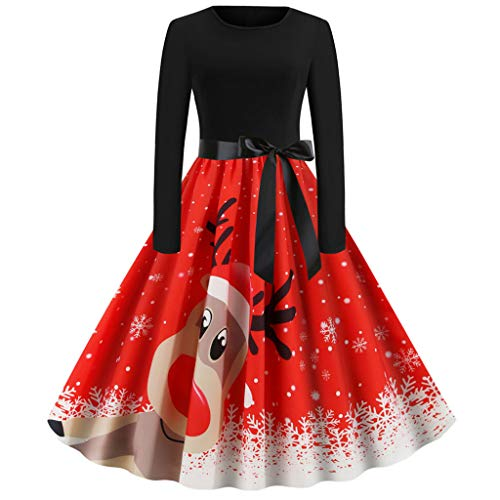 Women Christmas Dress,Ladies Santa Claus Print Plus Size Long Sleeve Vintage Casual O-Neck Formal Dresses Evening Gowns…