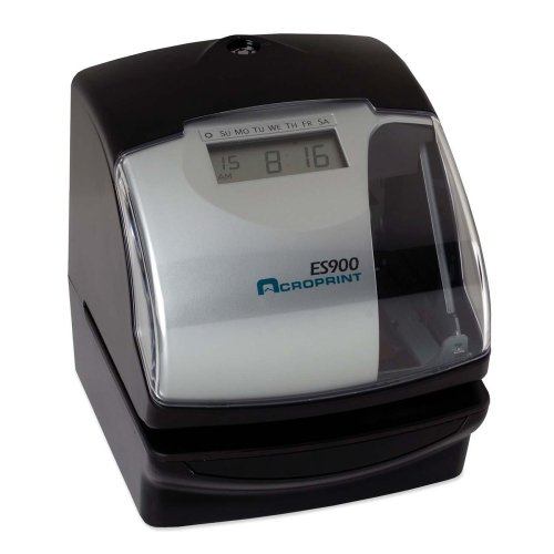 Acroprint ES900 Electronic Stamp/Time Recorder-Electric Time Recorder, English/Spanish Manual, Black/Gray