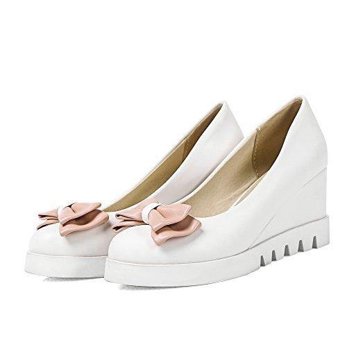 AmoonyFashion Womens Pu Solid Pull On Round Closed Toe High Heels Pumps-Shoes White bTKNVirubZ