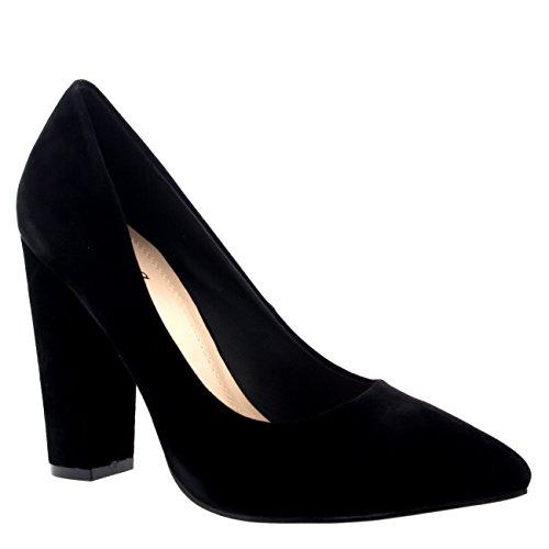 Mujer Oficina Noche Talón De Bloque Dedo Puntiagudo Pumps Zapatos Trabajo Zapatos De La Corte Negro