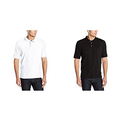 Hanes 2 Pack X-Temp Performance Polo Shirt, White/Black, ()