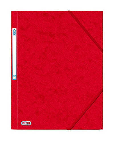 Elba Folder Elasticated 3-Flap 500gsm for 300 Sheets A4-Foolscap Red Ref 43198091 [Pack of 10]