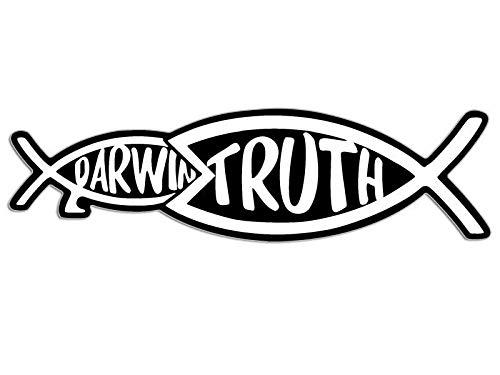 JR Studio 2x7 inch Christian Truth Eats Darwin Fish Shape Sticker - Jesus Christ God Bible Vinyl Decal Sticker Car Waterproof Car Decal Bumper Sticker