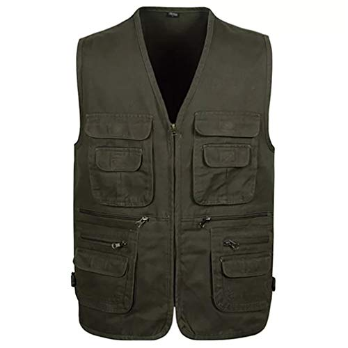 - Jade Hare Men's Summer Casual Outdoor Work Multi-Function Pockets Fishing Photo Journalist Cotton Vest (Dark Green Zip, X-Large)