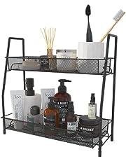 UDEAR Spice Rack Organizer,2 Tier Kitchen Seasoning Storage,Bathroom Shelf, Desktop Makeup Organizer,Mesh Design,Black