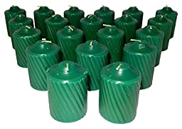 15 Hour Pine Scented Green Votive Candles 20 Candles Per Box with Texured Finish (Green Pine Scent)