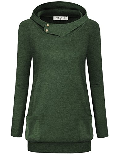 SeSe Code Tunic Sweatshirts to Wear with Leggings, Women's High Neck Business Casual Buttons Long Sleeve Pullover Hoodie Dressy Shirts Classy Tops with Pockets Coats XL Green St Patricks Day Clothing by SeSe Code
