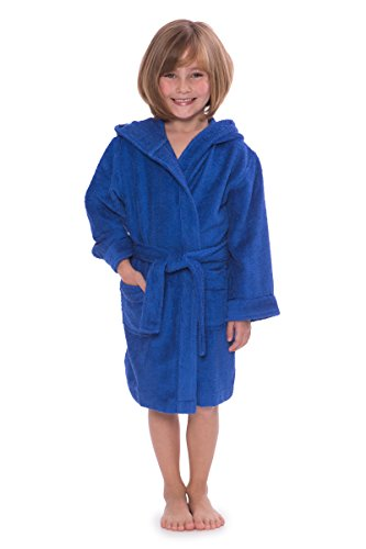 Kid's Hooded Terry Cloth Bathrobe - Cozy Robe by for Kids Texere (Rub-A-Dub, Dazzling Blue, Large) Plush Robes for Kids (Girls Terry Cloth Robes)