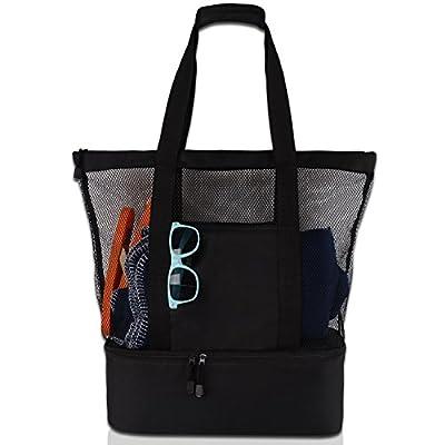 Rotanet Mesh Beach Tote Bag-Large Cooler Beach Bag with Zipper
