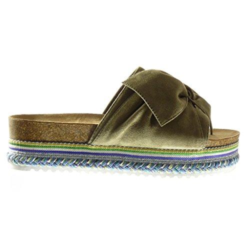 Angkorly - Scarpe da Moda sandali zeppe slip-on donna papillon intrecciato Tacco zeppa piattaforma 5 CM - Verde