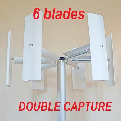 MAKEMU Energy Option 6 Blades for Wind Vertical Axis Wind Domus 500/750/1000 W + 3 Blades with Vertical savonius Generator