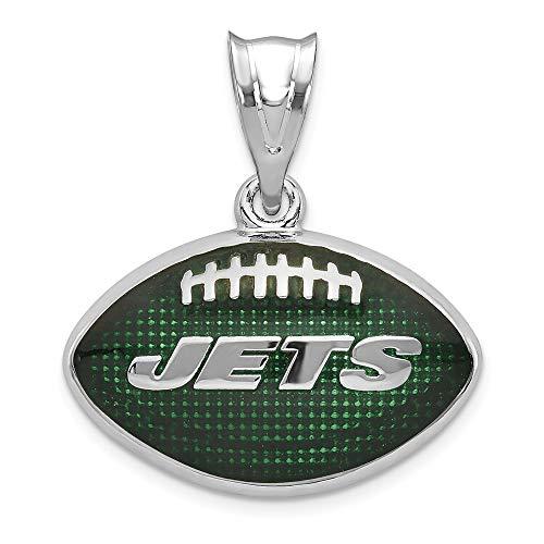 NFL Sterling Silver LogoArt New York Jets Enameled Football Pendant ()