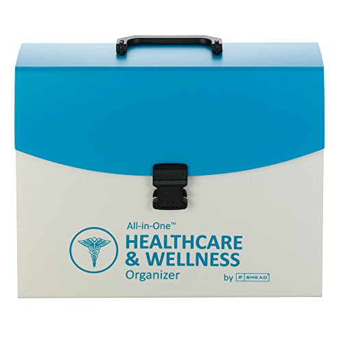Smead All-in-One Healthcare & Wellness Organizer with Latch Closure, 13 Pockets, Poly, Letter Size, Teal/White (92012)