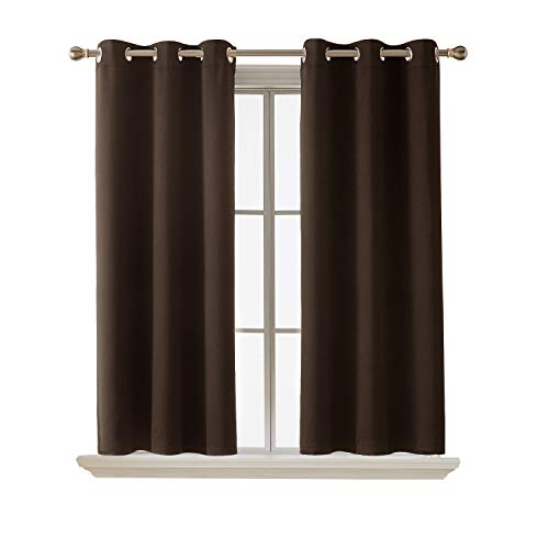 Deconovo Blackout Curtain Room Darkening Thermal Insulated Curtains Grommet Window Curtain for Bedroom Chocolate 38 x 54 Inch 2 ()