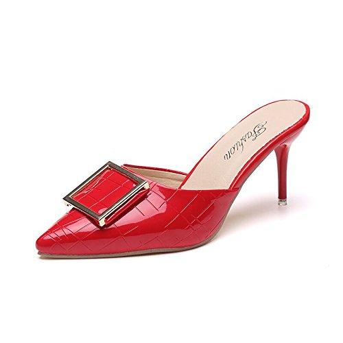 Zapatos Talón Y Confort Es Alto De con Rojo Zapatillas Pie Verano Lazos Apuntando nbsp;B Negrita con Parte Sandalias Mujer Fresca GAOLIM Establecer En xT4pWnfpA