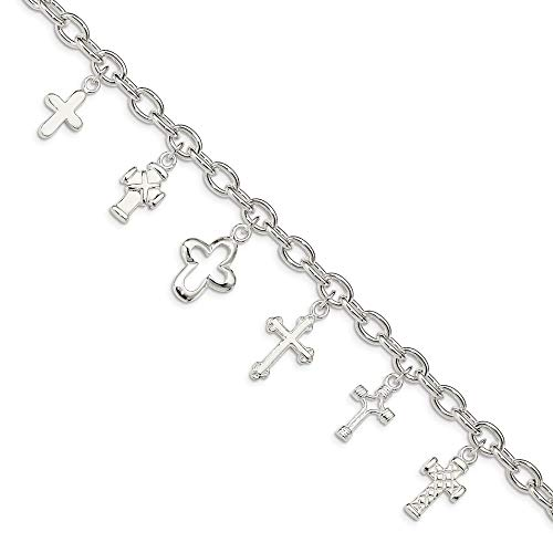 (Solid 925 Sterling Silver Multi-Cross Dangle Bracelet (6mm))