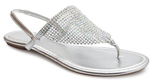 Rhinestone Back (OLIVIA K Women's Summer Beach Rhinestone Slingback Thong Sandals - Easy Slip On)