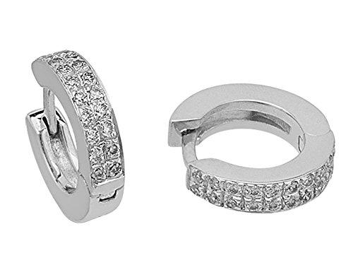 Birgie Diamants et Bijoux - Boucles d'Oreilles Diamants Double Rangée-Femme- or Blanc 201E0007