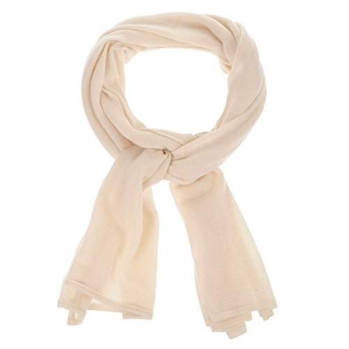 Womens 100% Cashmere Scarf Classics - White by LES POULETTES