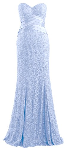 Women Formal Blue Mermaid Wedding Macloth Strapless Sky Evening Gown Lace Party Dress 6HnwqFd