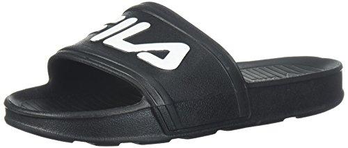 (Fila Unisex Sleek Slide Walking Shoe, Black White, 4 Medium US Big Kid)