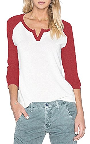 Fshop365 Women's Knit Pullover Striped Long Raglan Sleeves V Neck Tee Shirt Wine Red XXL