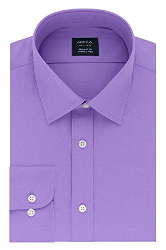 Arrow Men's Regular Fit Dress Shirt Poplin, Lavender, 17-17.5 Neck 34-35 Sleeve