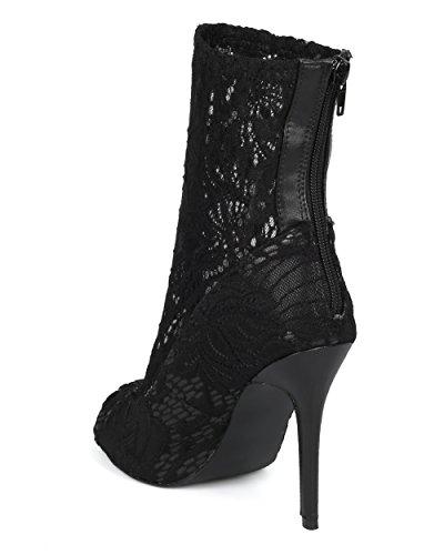 Alrisco Women Fabric Lace Stiletto Enkellaars - Floral Lace Peep Toe Bootie - Chic Trendy Veelzijdige Stiletto Bootie - Hd18 Door Qupid Collection Black Mix Media